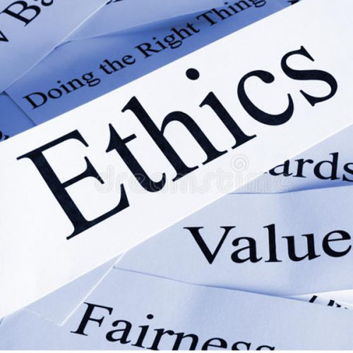 Graphic of the word ethics