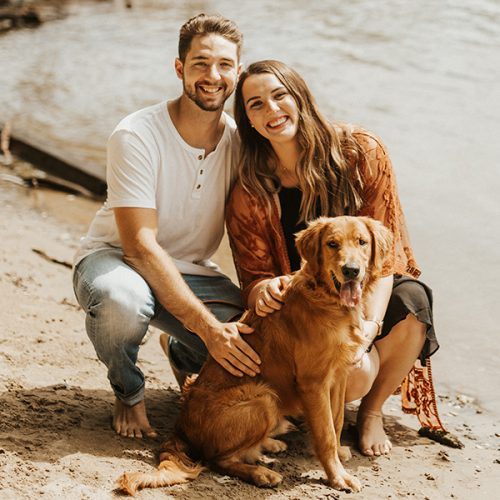Kaylie Marks '20 with fiance and her dog