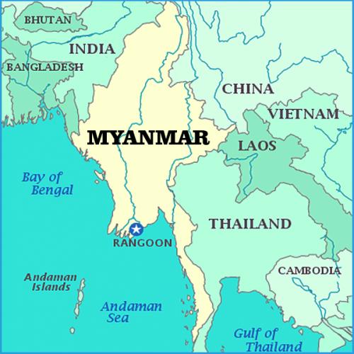 Map of the Myanmar region